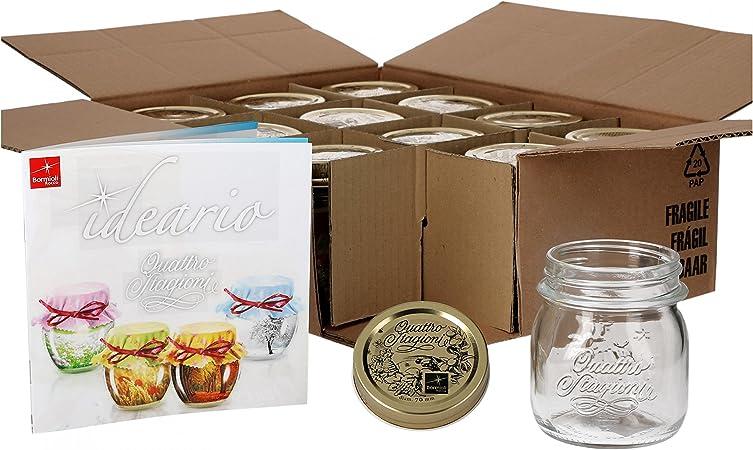 capacit/à: 0,5 litri incluso ricettario Bormioli Quattro Stagioni Set da 6 vasetti in vetro per conserve