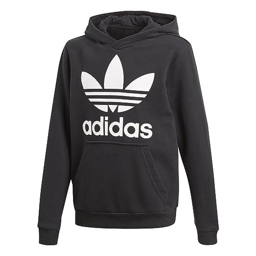 adidas Originals Big Kids Originals Trefoil Hoodie, Black/White, L