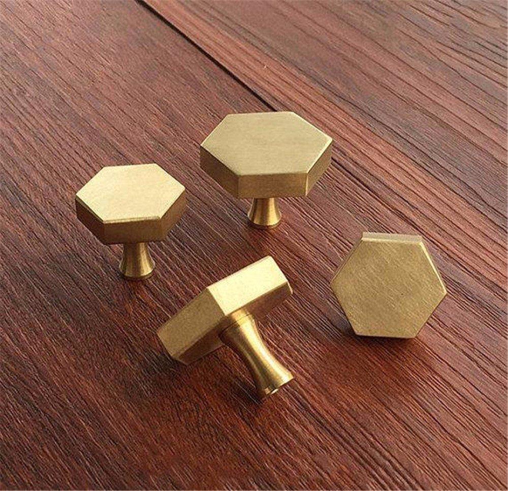 wangjian& Perillas hexagonales de Lató n Perilla de gabinete Manijas Perillas de aparador Tiradores de cajones Herrajes para Muebles de Cocina Antiguos, 25MM