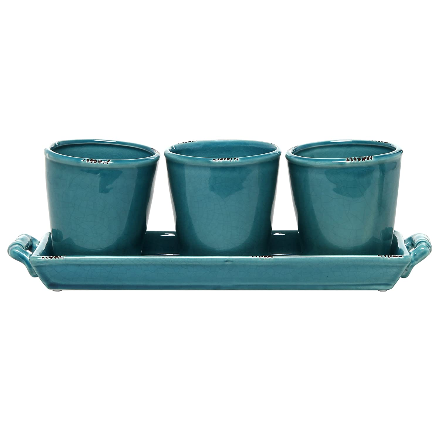 Amazon.com : MyGift Set of 3 Country Rustic Turquoise Ceramic ...