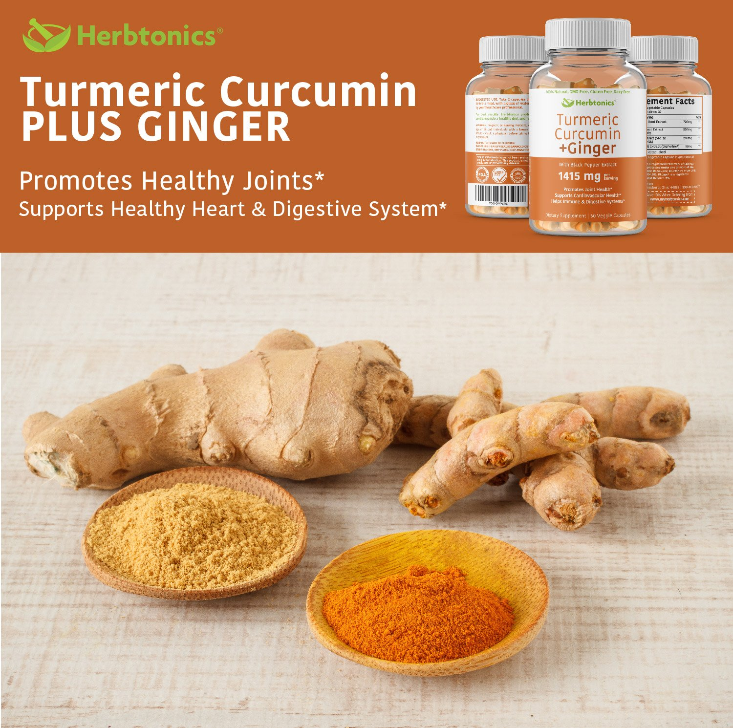 Organic Turmeric Curcumin and Ginger Capsules 1400mg with Black Pepper (Bioperine) l Joint Pain Relief Supplement, Anti-Inflammatory, Antioxidant 100% Natural- Tumeric with Ginger, Arthritis Support