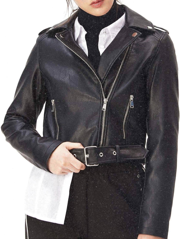 Symbidium Womens Faux Leather Biker Jacket with Belt PU Slim Short Motorcycle Coat