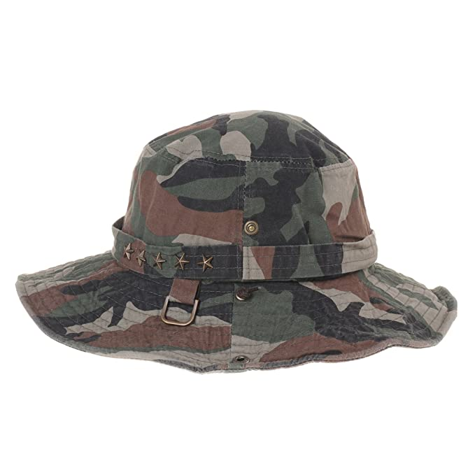3a30ca698f9 WITHMOONS Boonie Bush Hats Wide Brim Denim Camouflage Side Snap KR8190 ( Beige)  Amazon.co.uk  Clothing