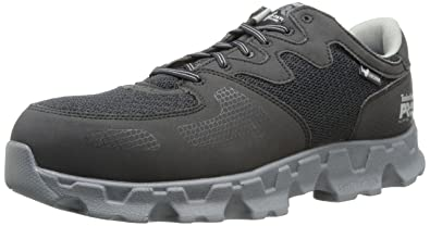 Timberland PRO Men's Powertrain Alloy Toe ESD Industrial Shoe,Black/Grey Microfiber and Textile,15 W US
