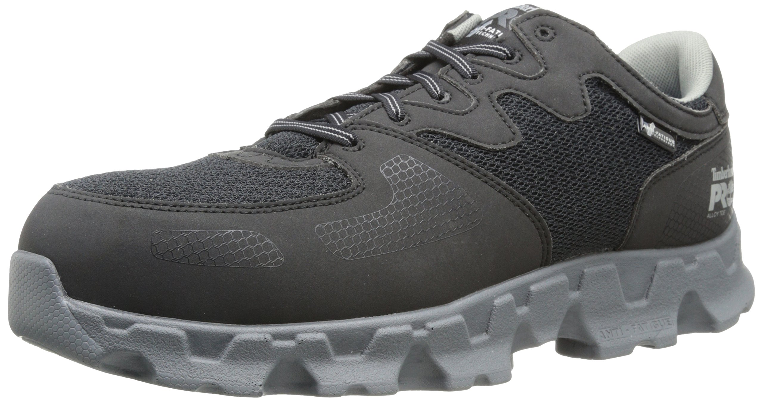 Timberland PRO Men's Powertrain Alloy Toe ESD Industrial Shoe,Black/Grey Microfiber And Textile,12 W US