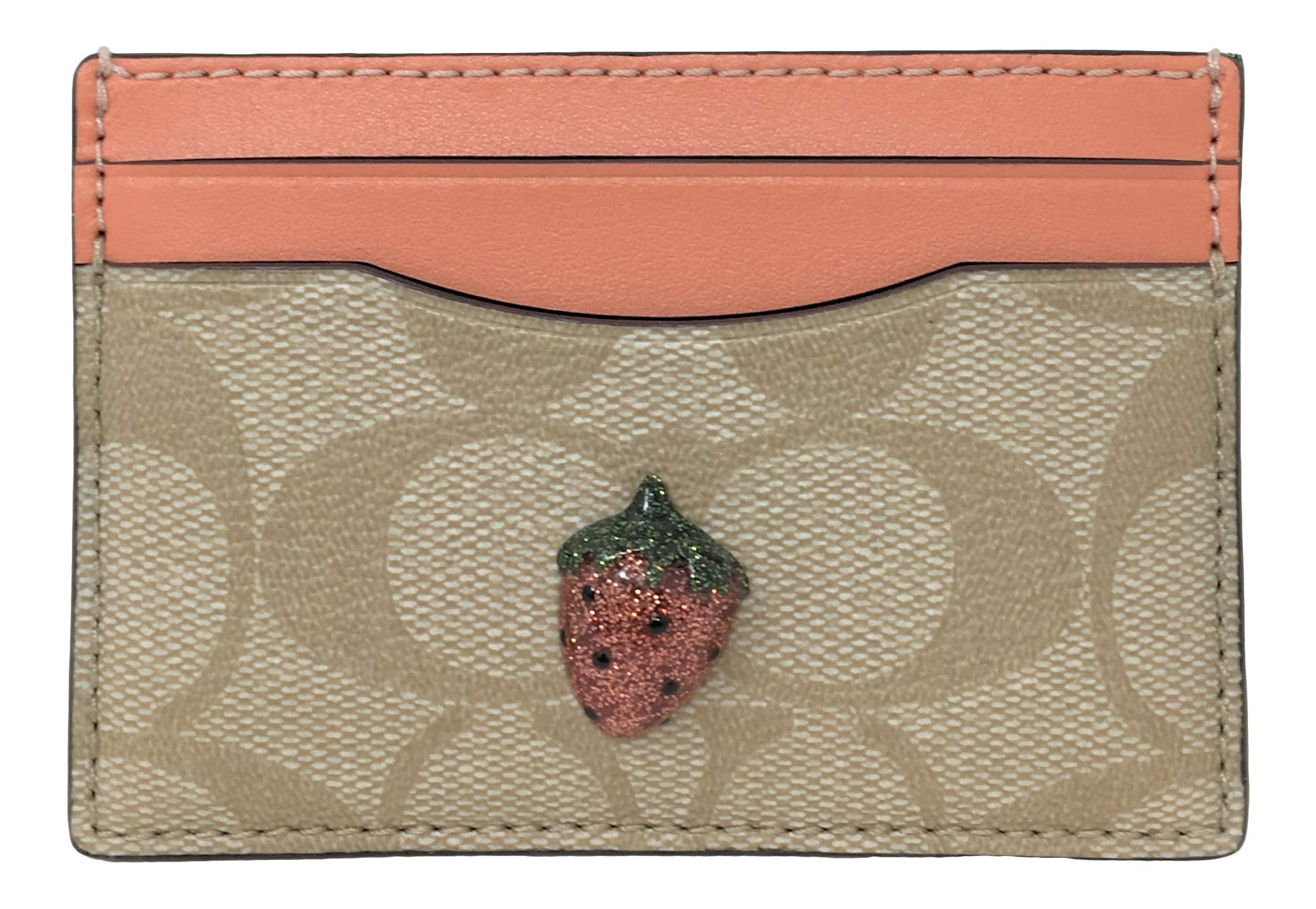 Coach Card Case In Signature Canvas With Strawberry Fruit Light Khaki Coral F73079 by Coach