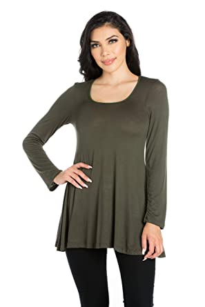 9e232280965 24seven Comfort Apparel Women's Clothes Long Sleeve Round Neck Tunic Tops  Shirts - Made in USA