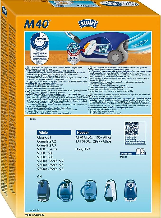 2 Original SWIRL H 41 MicroPor® PLUS 8 Staubsaugerbeutel für Hoover