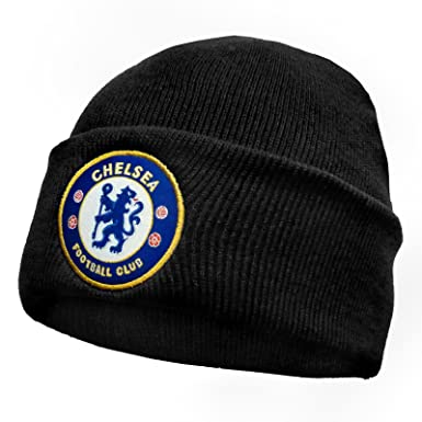 75949a7a4e8 Chelsea FC Official Football Gift Knitted Bronx Beanie Hat Black ...