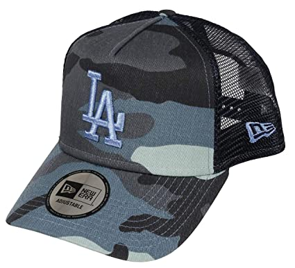 df00d0808 New Era Los Angeles Dodgers A Frame Adjustable Trucker Cap Camo Essential  Blue Camo - One-Size: Amazon.co.uk: Clothing