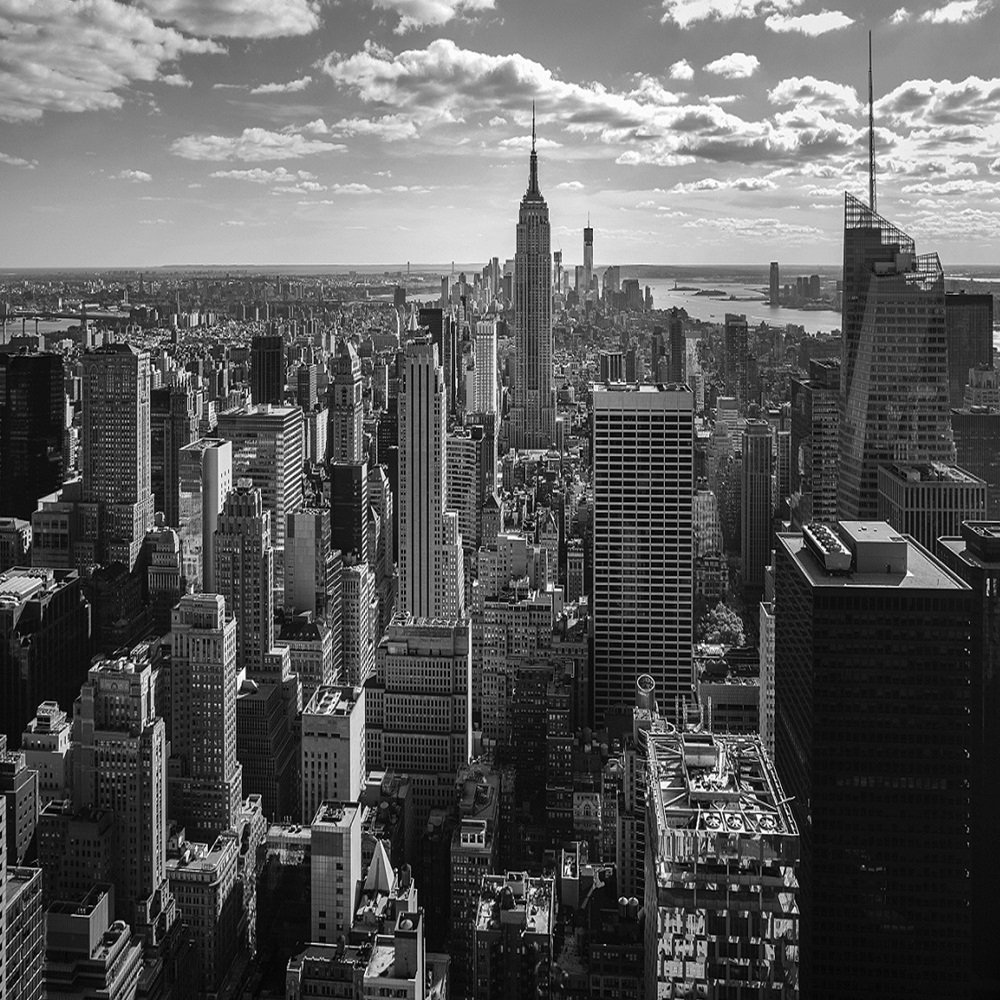 New york skyline black and white wallpaper for Black and white new york mural wallpaper
