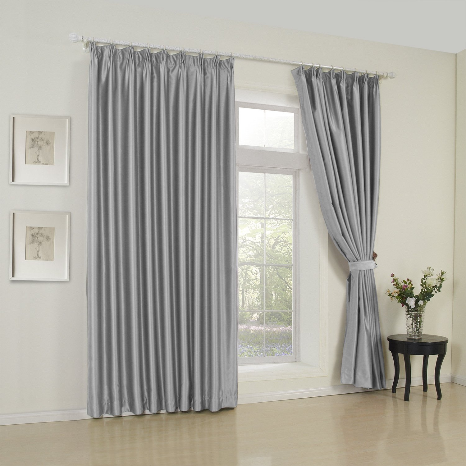 50''W x 96''L (Set of 2 panels) Multi Size Available Custom Modern Solid Grey Double Pleated Lined Blackout Window Treatment Draperies & Curtains Panels