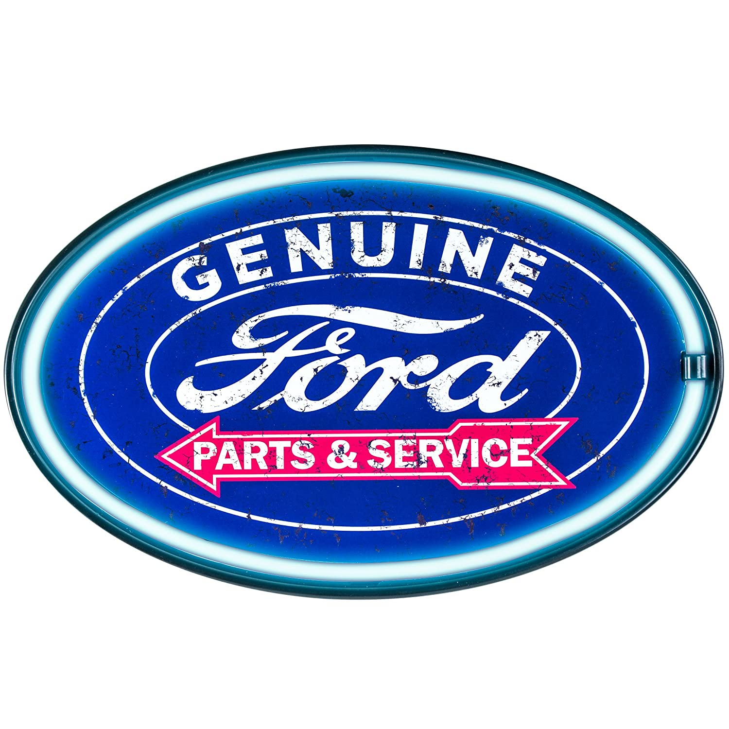 Amazon com genuine ford parts and service reproduction vintage advertising oval sign battery powered led neon style light 16 x 11 x 2 inches home