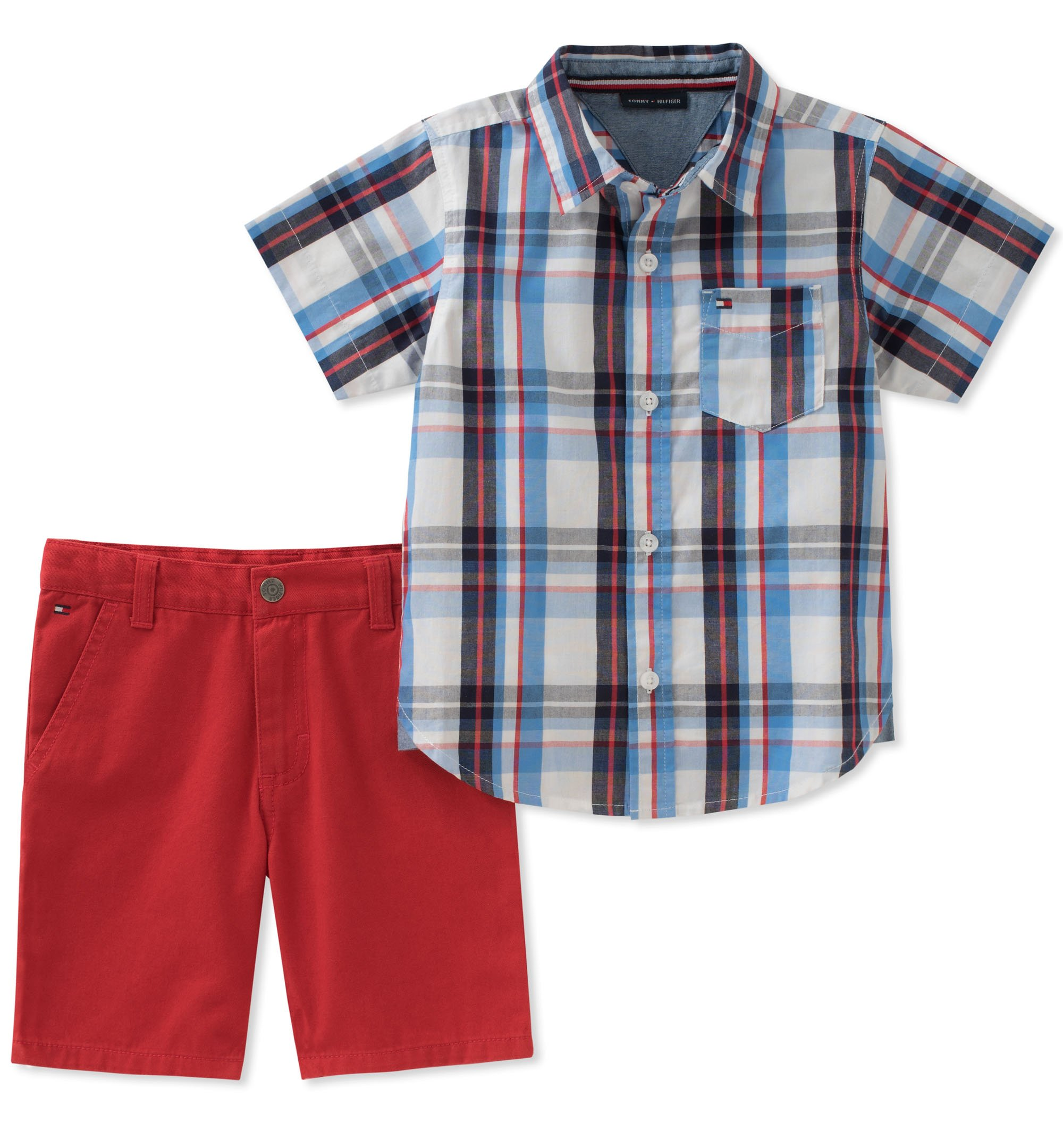 Tommy Hilfiger Boys' Toddler 2 Pieces Shirt Shorts Set, Blue/red, 4T