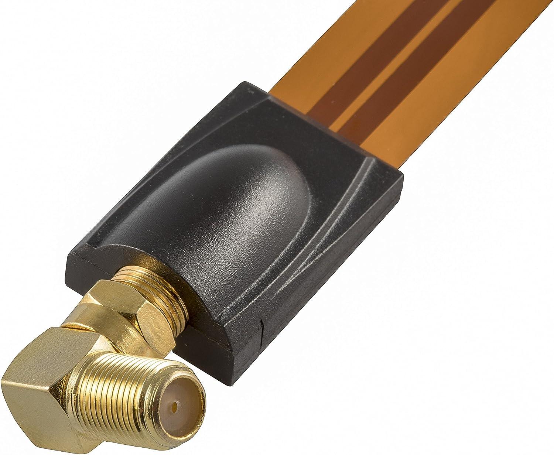 Poppstar 8X Adaptador coaxial para Cable de Antena, Conector F Hembra a Conector f Macho, (en ángulo 90 Grados), Dorado