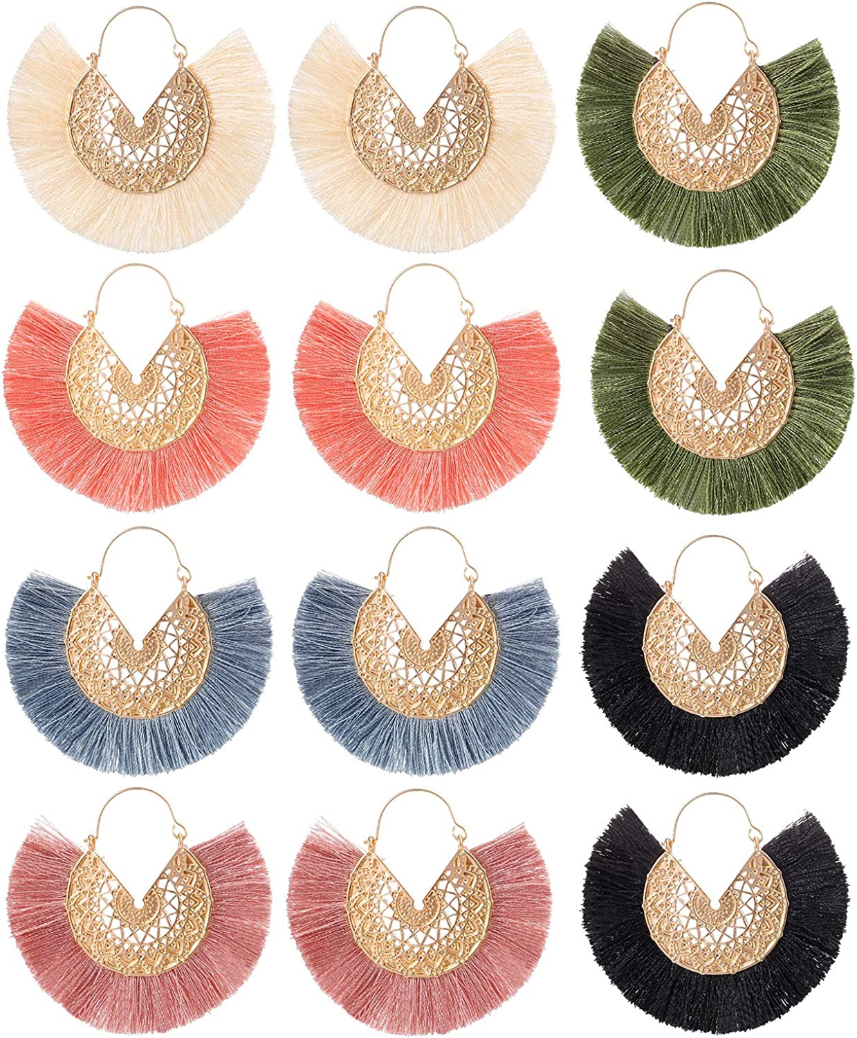 SYNLIN 6 Pairs Boho Fringe Earrings Set for Women and Girls - Statement Earrings with Unique Design Bright Colors