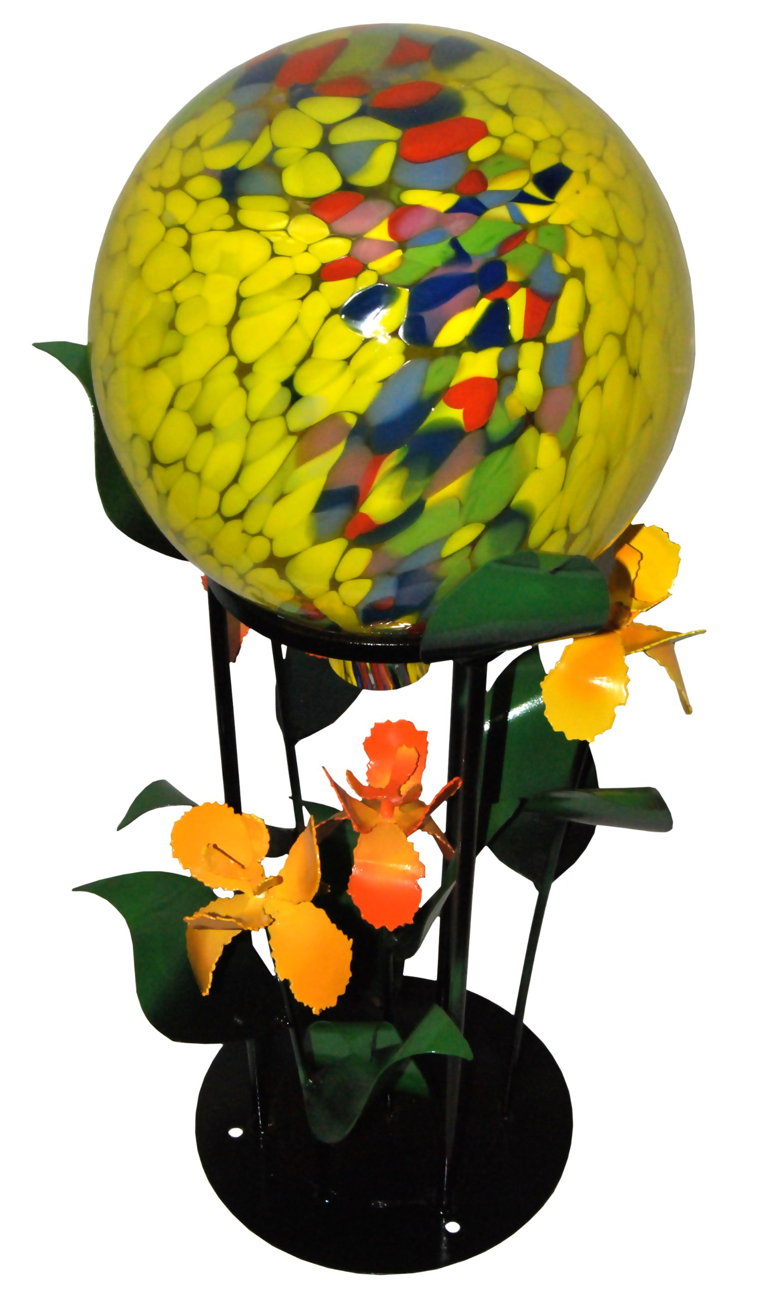 Steven Cooper Metalsmith AGAZBALL-S-Yellow 12-Inch Yellow Gazing Ball on 19-Inch High Base with Yellow Irises by Steven Cooper Metalsmith