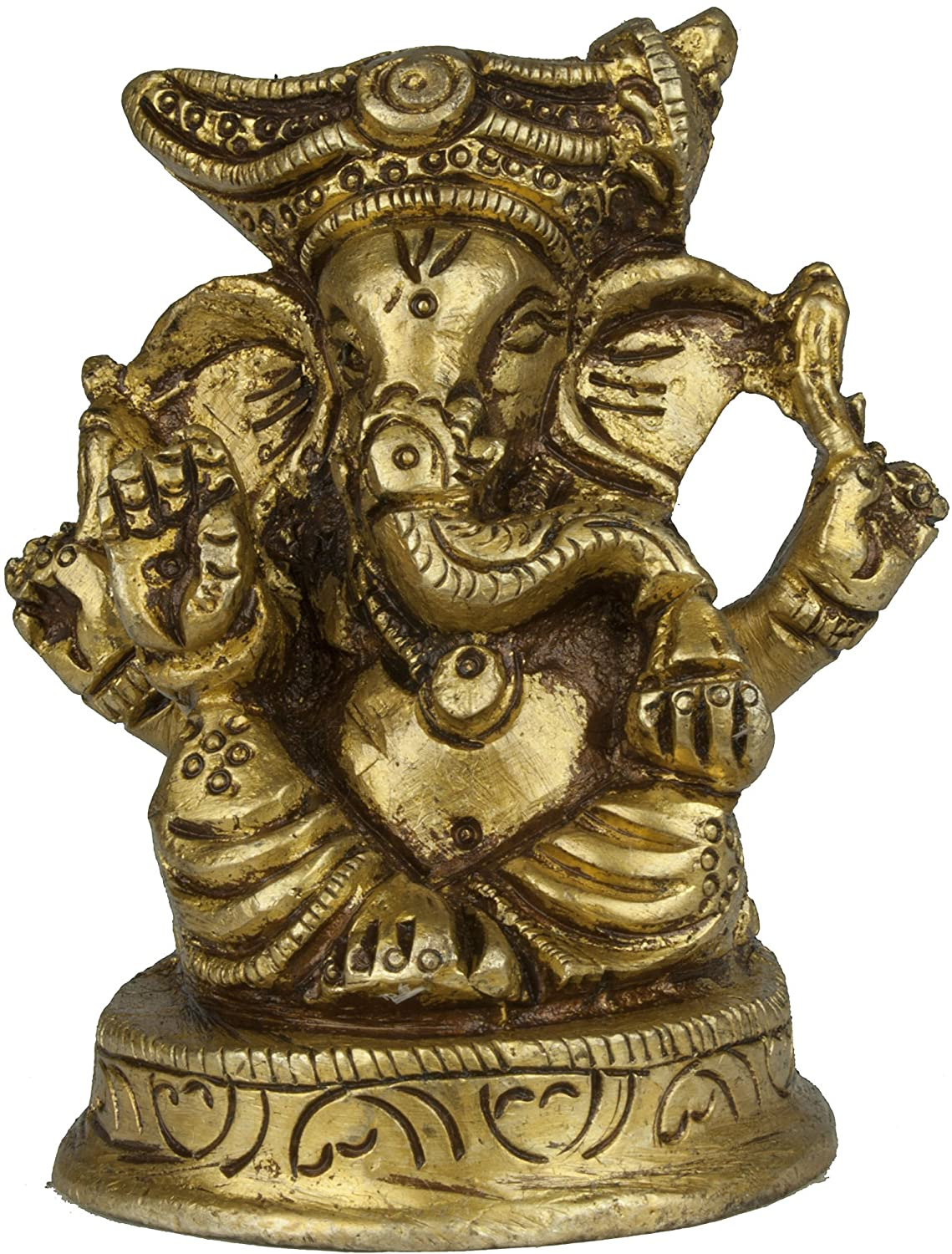 Exotic India Four Armed Turbaned Ganesha (Small Sculpture) 2.5 inch Height Yellow