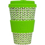 Reusable Coffee Cup (Green Earth) - Eco Friendly & Organic Biodegradable Bamboo - Made With Food Grade Natural Silicone Lid & Sleeve - Ideal Mug For Travel & Outdoors