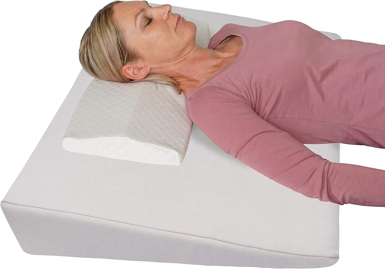 Cuña de Cama Ortopédica + Almohada anti-estrés! Cojín de Respaldo para Cama/Bucco/Sofa - Almohada de Elevación 90 x 60 cm; altura 12 cm (blanco)