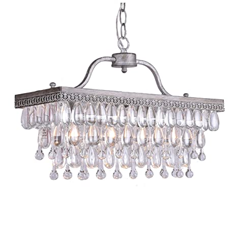 Crystal Glass Drop 3-light Antique Silver Chandelier - Crystal Glass Drop 3-light Antique Silver Chandelier - - Amazon.com