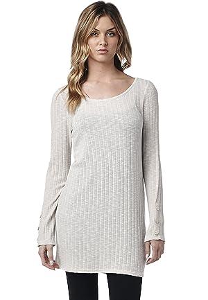LeggingsQueen Women's Long Sleeve Ribbed Knit Tunic Top (Beige, Large)