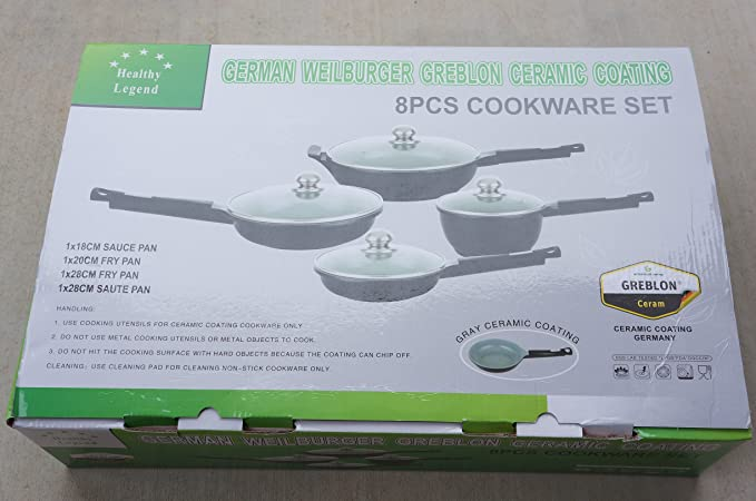 Healthy Legend Deluxe 8 Pc German Weilburger Ceramic Coating Non-stick Fry Pans and Sauce Pan Cookware set - ECO Friendly Non-toxic Cookware by Commercial ...
