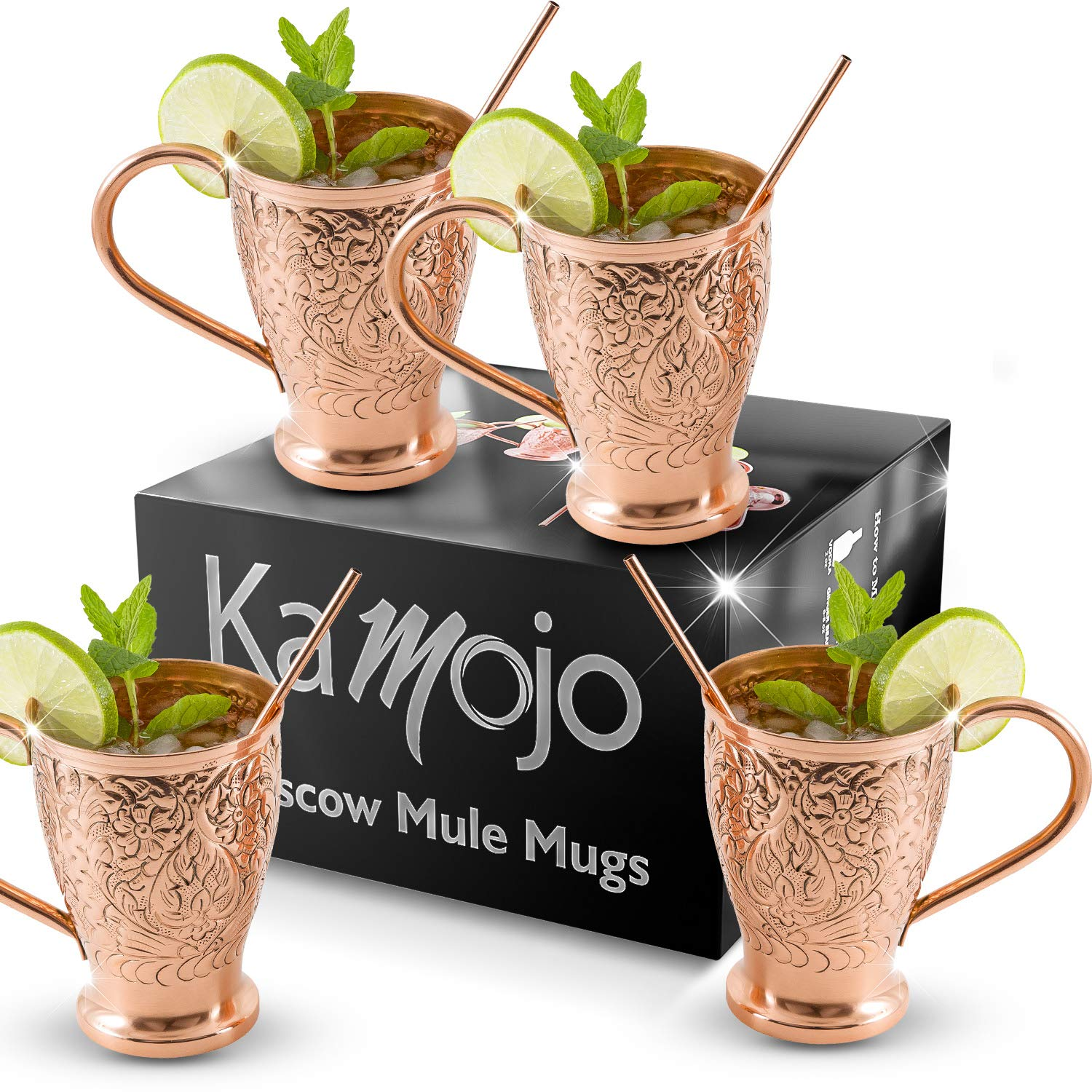 Moscow Mule Pure Copper Mugs - Stunning Embossed Gift Set of 4 Copper Cups - Bonus Copper Straws for Cocktails & Russian Mules - Kamojo Exclusive (Gift set of 4)