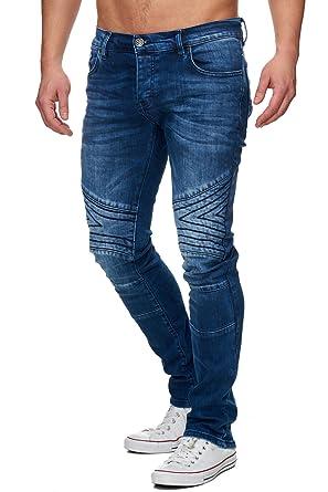 c32cc1a11c1af Tazzio Slim Fit Herren Biker Look Stretch Jeans Hose Denim 16526
