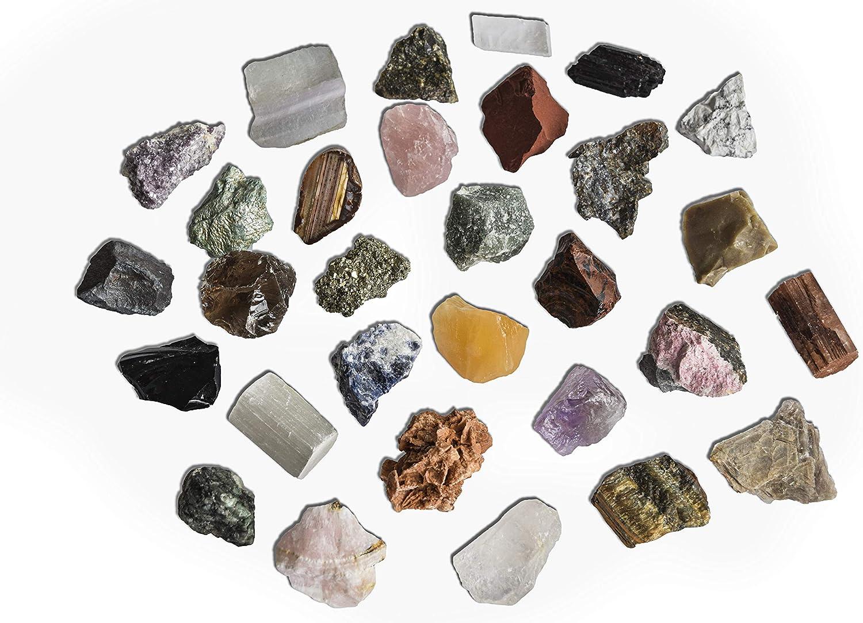 Colecci/ón de 30 Minerales del Mundo Premium en Caja de Madera Natural Kit Geolog/ía para ni/ños Minerales Reales educativos de Gran tama/ño con Hoja de descripci/ón