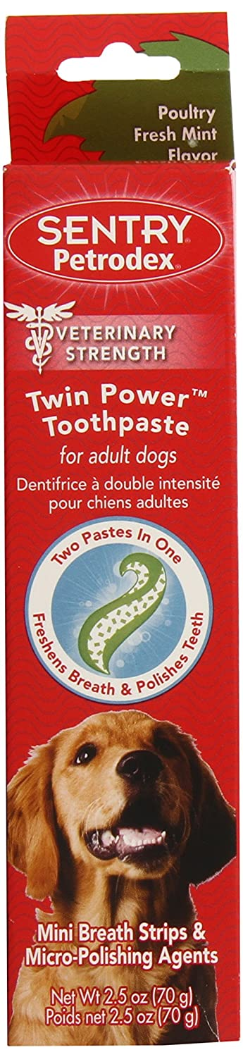 Petrodex Twin Power Toothpaste for Puppies and Small Dogs, Poultry Fresh Mint Flavor, 2.5 oz Sentry 51079