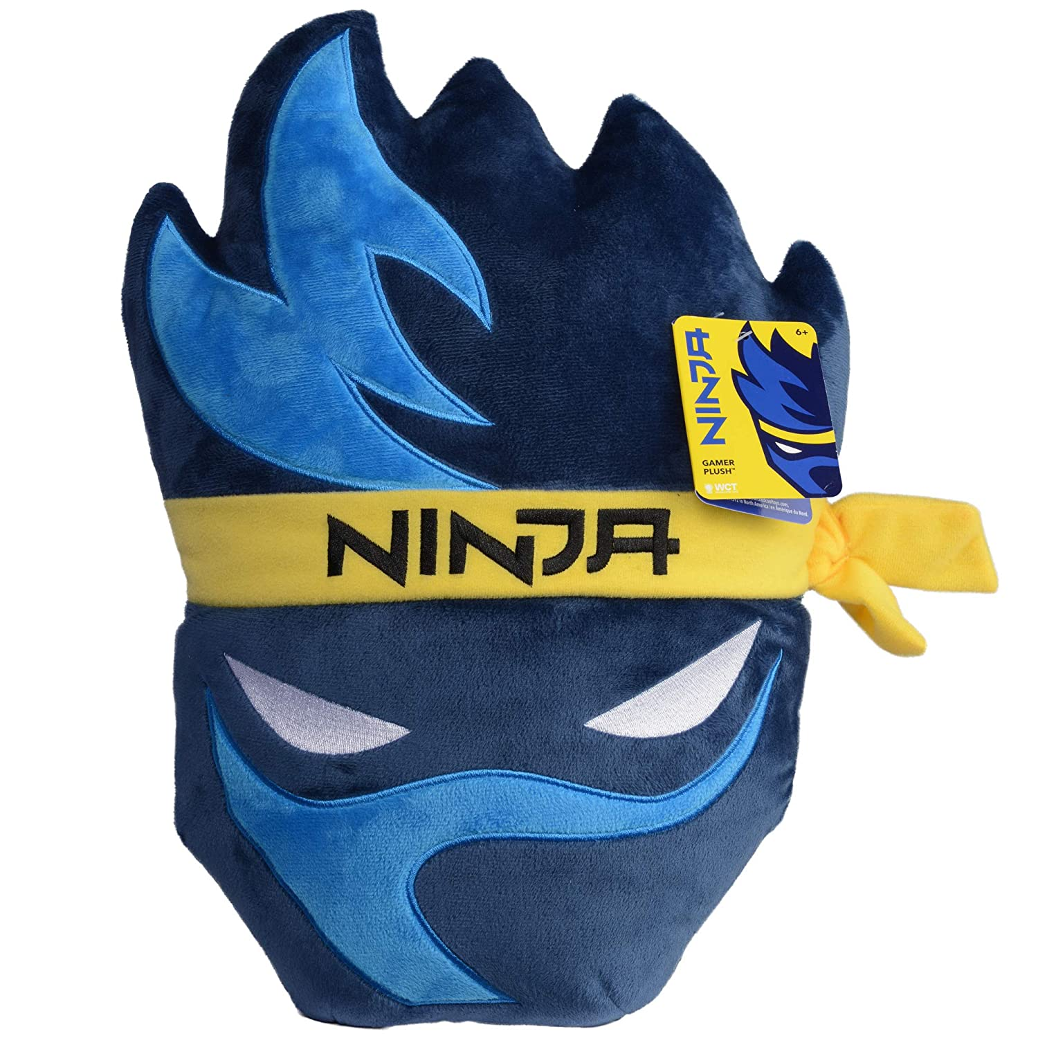 Wicked Cool Toys Ninja Gamer Chair Plush Pillow - Game Room Accessory and Chair Cushion - Iconic Ninja Streamer Logo - 15 Inch - Ages 6+