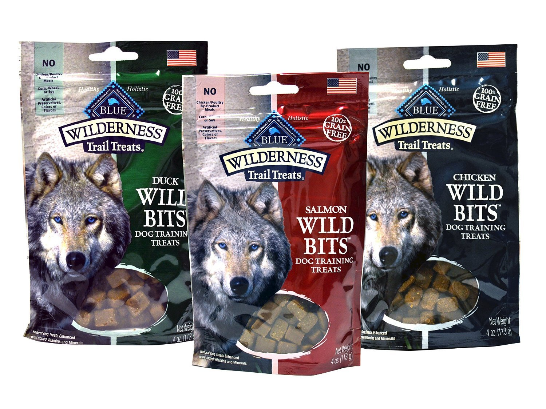 Blue Buffalo Wilderness Trail Treats Grain-Free Wild Bits Dog Treats - 3 Flavors (Salmon, Chicken, Duck) - 4 Ounces Each (3 Total Pouches)