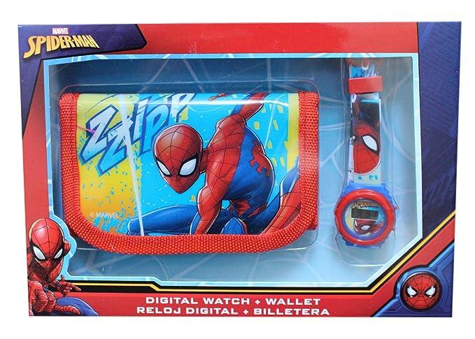 Marvel - Reloj digital infantil, diseño de Spider-Man, incluye cartera: Amazon.es: Relojes