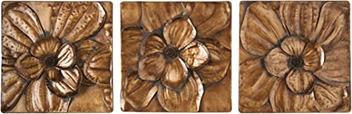 Magnolia 3 pc Wall Panel Set – Gold Floral Motif – Hand Painted Glam Style