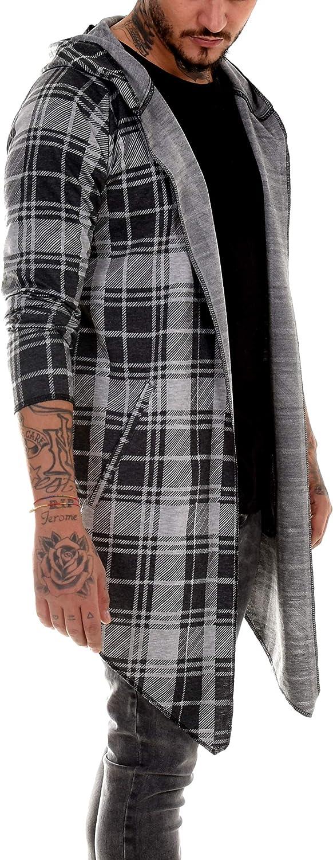BAXMEN CULTWEAR Mens Cardigan Hoodie Destroyed Jacket Long Cardigan Hooded Long Sweat Jacket Long Vintage Slim Fit