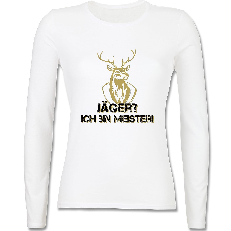 Après Ski - Jäger? Ich bin Meister! - tailliertes Longsleeve / langärmeliges T-Shirt für Damen