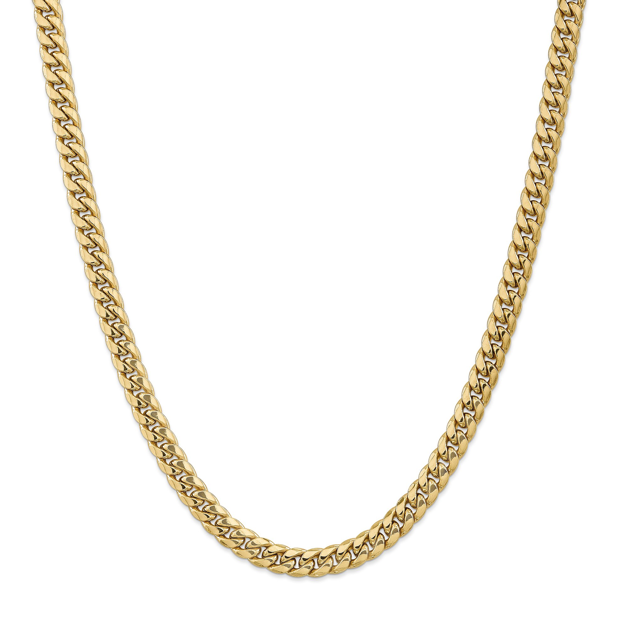 ICE CARATS 14k Yellow Gold 7.3mm Miami Cuban Chain Necklace 24 Inch Curb Fine Jewelry Gift Set For Women Heart