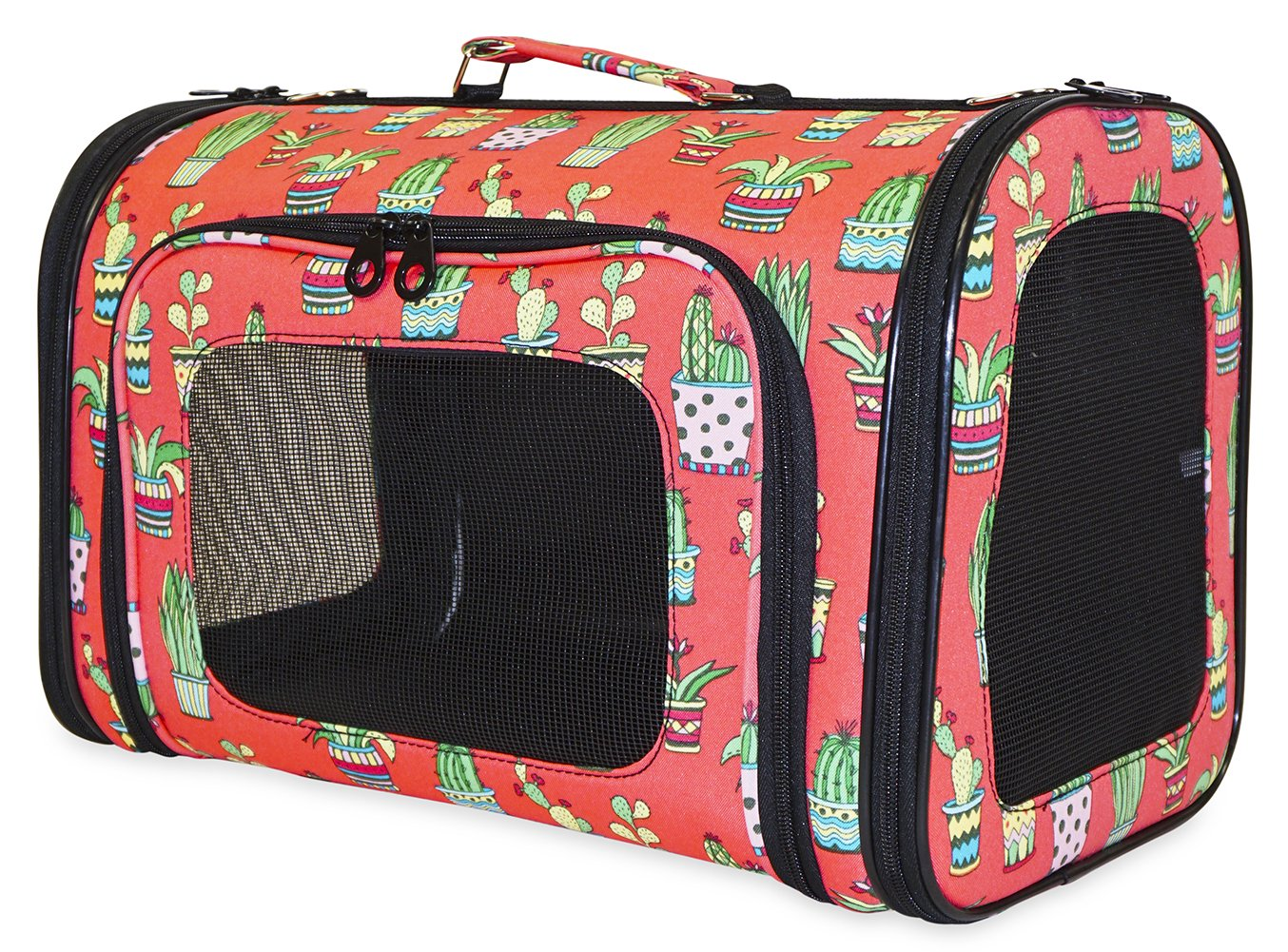 Ever Moda Coral Cactus Print Pet Carrier Collection (Large)