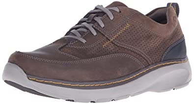CLARKS Men's Charton Mix Sneaker, Dark Brown Leather, 6 Medium US