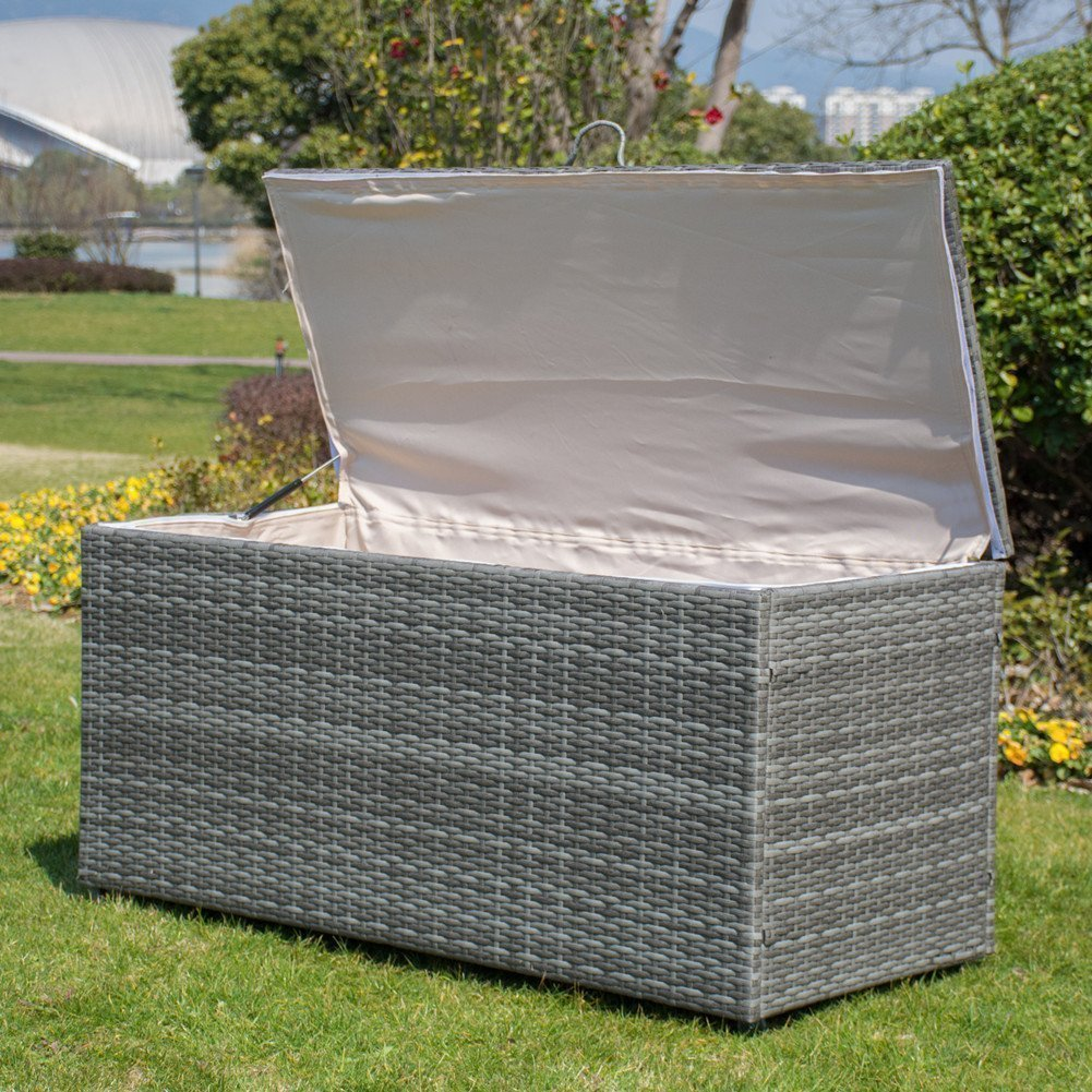Storage Bin Deck Box PE Wicker Outdoor Patio Cushion Container Garden Furniture, Grey