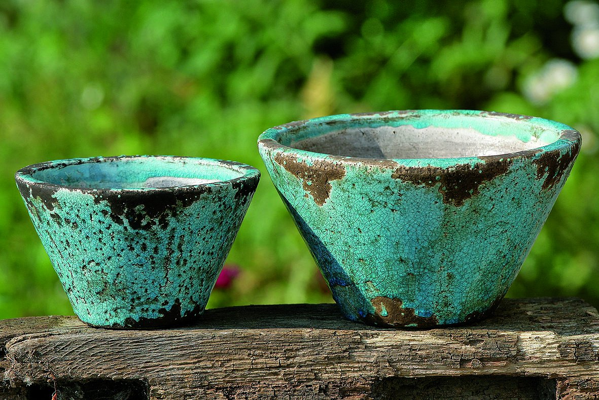 The Beach Chic Blue Turquoise Cone Cache Pot Planters, Terracotta ...