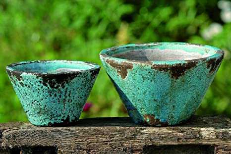 Amazon.com : The Beach Chic Blue Turquoise Cone Cache Pot Planters ...