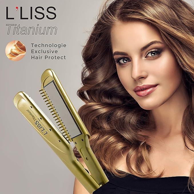 LLiss – Plancha profesional LLiss Titanium – Plancha de alisado rizador – Placas de titanio XL de alto rendimiento – Tecnología para el cabello – Ultra rápida y ligera – Especial alisado