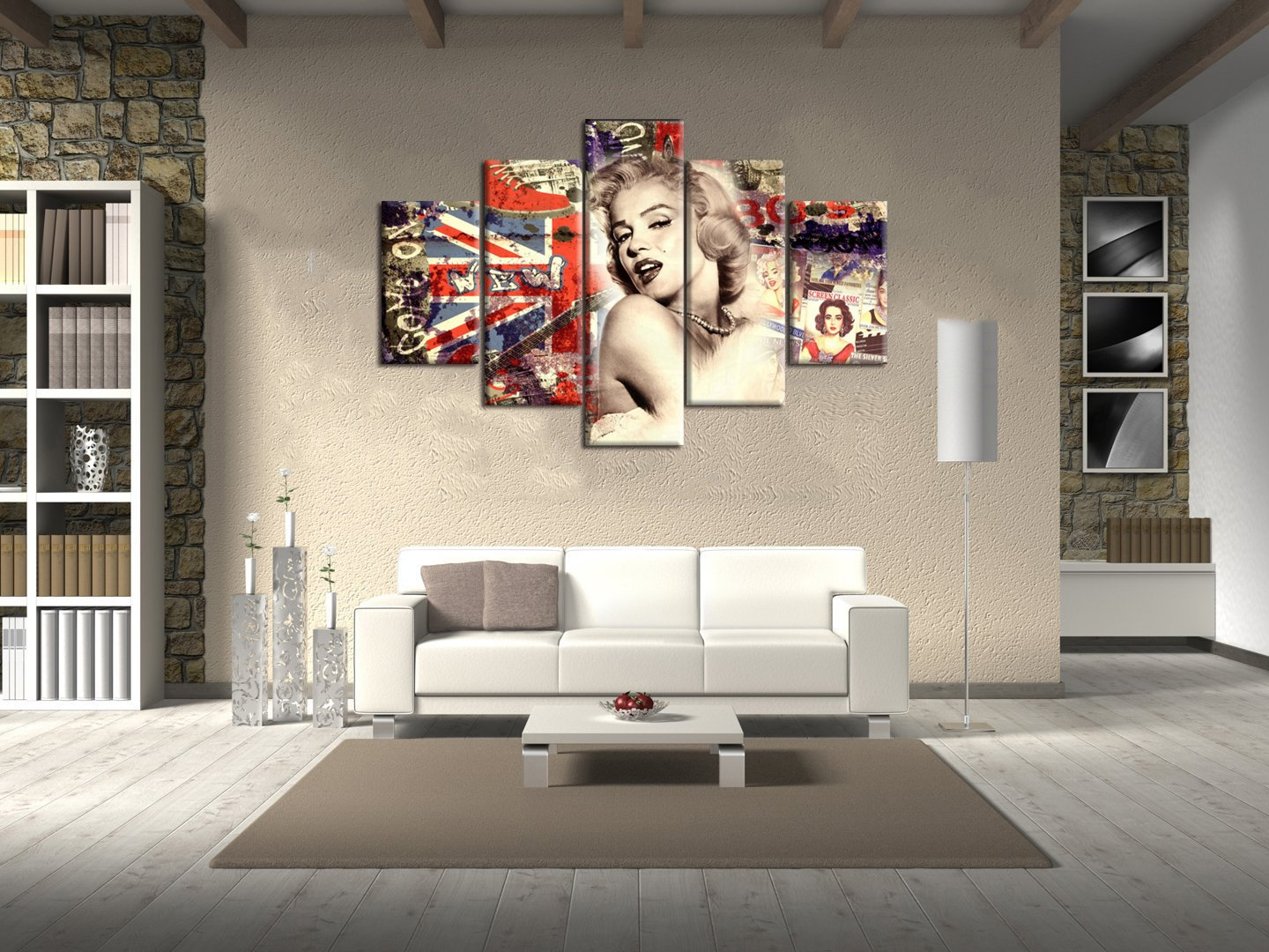Vintage Extra Large Painting on Canvas Marilyn Monroe Retro Wall Art American Flag Background Artwork 5 Panel Printed Picture for Living Room Home Decoration Framed Ready to Hang(60''Wx40''H) by Yatsen Bridge