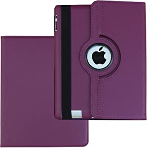 Case for iPad 2nd 3rd 4th Generation, Fit Model A1395 A1396 A1397 A1416 A1430 A1403 A1458 A1459 A1460 – Lingsor Smart Cover Case Rotating Stand Support Wake up Sleep, Plain Puple