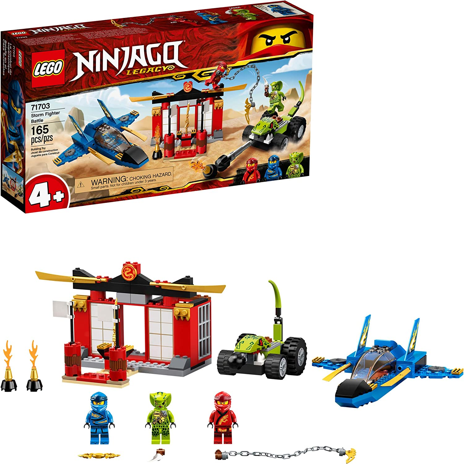 LEGO NINJAGO Legacy Storm Fighter Battle 71703 Ninja Playset Building Toy for Kids Featuring Ninja Action Figures, New 2020 (165 Pieces)