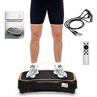HALSEA Fitness Ultraflache Vibrationsplatte mit Fernbedienung, Sicherheit Vibrationsplatte Ganzkörper Trainingsgerät rutschfest große Fläche - Schwarz/weiß