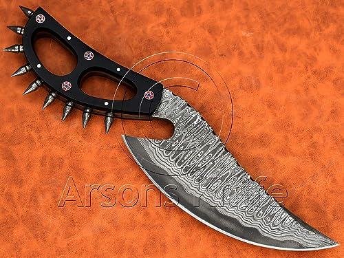 Handmade Damascus Steel Sanmai Hunting Cobra Night Slasher Knife