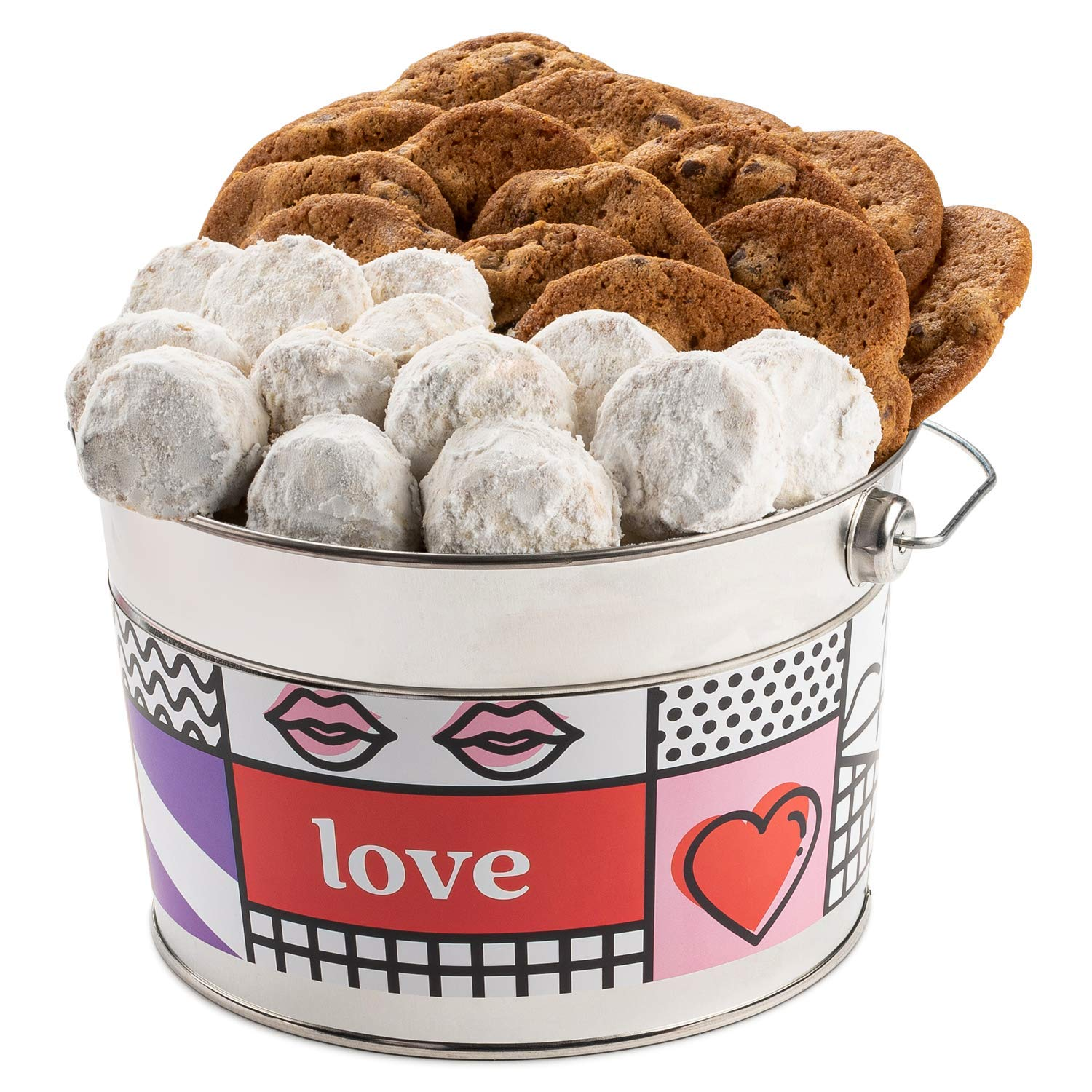 David's Cookies Valentine's Day Assorted Cookies Bucket – Thin Crispy Cookies and Pecan Meltaways Treats – Delicious Traditional Recipes – Decorated Bucket V-Day Cookies